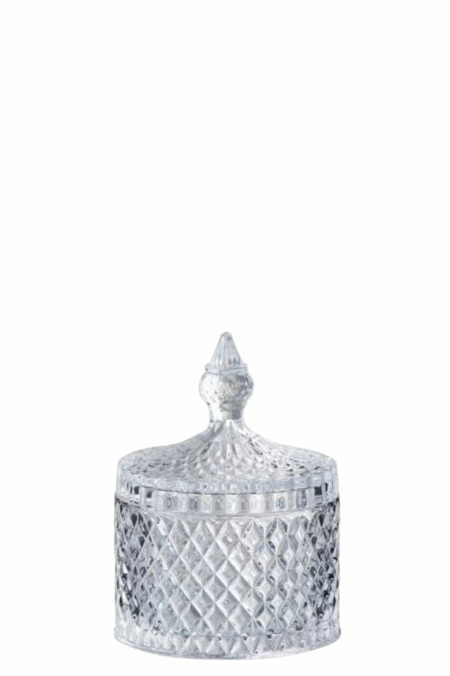 Barattolo Tagliato Cilindrico Vetro Trasparente Medium   Jolipa