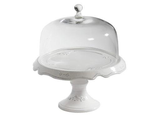 Alzata Grande Con Campana In Vetro, Bianco | Virginia Casa