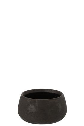 Portavasi Basso Irregolare Rugoso Ceramica Nero (20.5×20.5×10.5cm)