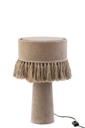 Lampada Da Tavolo Eve Rotonda Velluto Cotone Beige – Jolipa